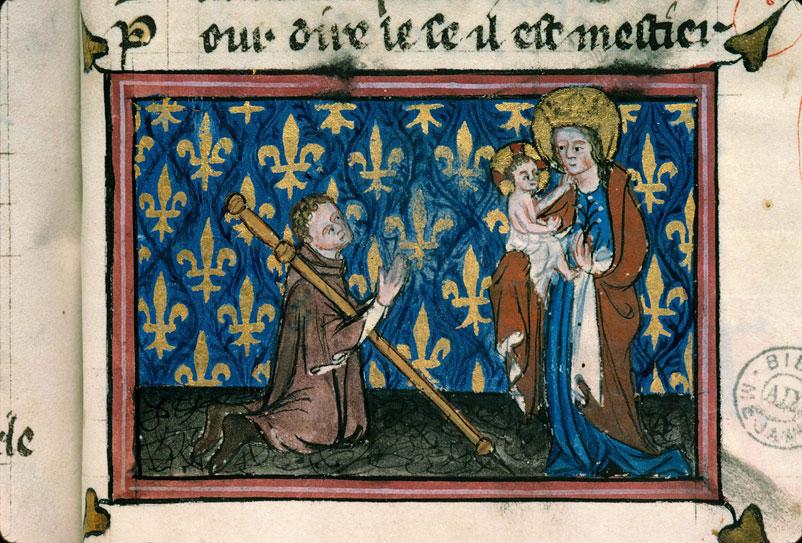Pèlerin priant la Vierge à l'Enfant